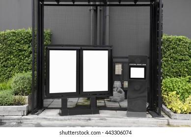 Drive-Through Ordering Speaker and Empty menu board
