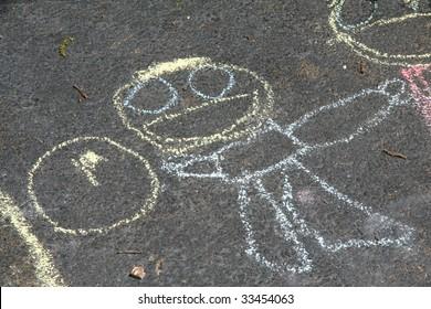 Driveway art stick figure drawing