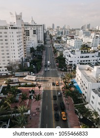 Driveway and cityscape of Miami Beach, Florida, USA