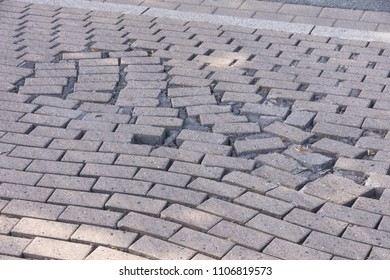 Driveway concrete pavement stones Association is moved with wide joints
