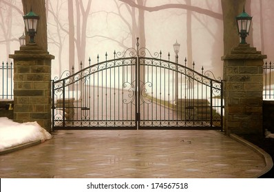 driveway with security gate
