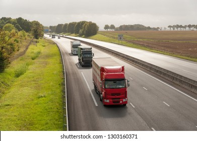 Driving A13 French motorway from Paris to Caen through Normandy