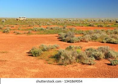 Driving across the Australian desert