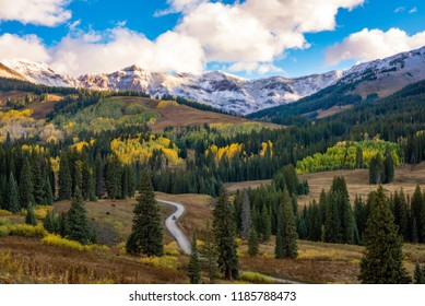 Driving the back roads in Colorado during fall season