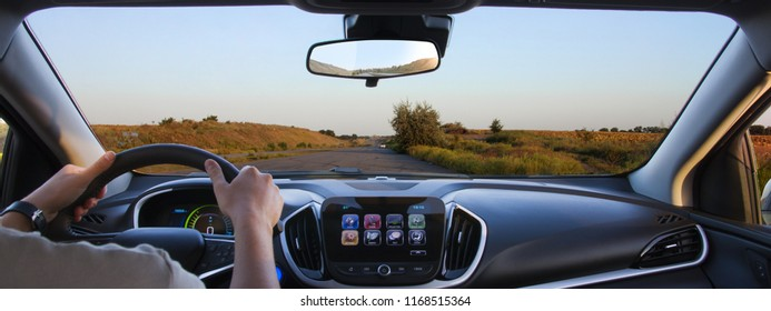 Driving a car. Freeway driving. view of the driver.  View from the car.