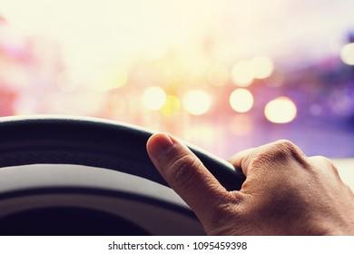 driving car in night