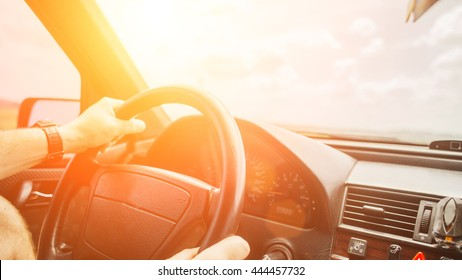 driving car on the empty road, travel background