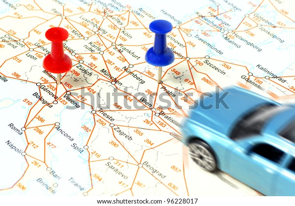 Driving Car On Map Points Marked Stock Photo (Edit Now) 96228017 on
