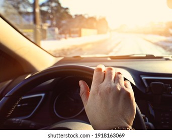 driving a car on a sunny day