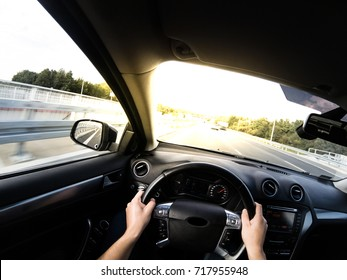 Driving car pov on a highway