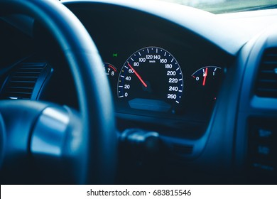 Driving car speedometer speed transportation background.
