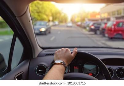 driving a car at sunny day