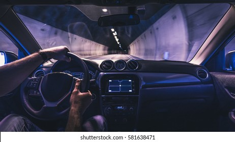 Driving a car through the tunnel