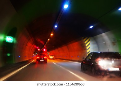 driving car in the tunnel as very nice background