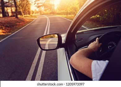 driving carefree by car on the road