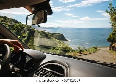 Driving to the coastline of São Miguel Açores - Azores