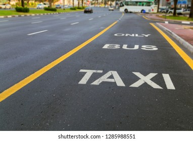 Driving directions Bus and Taxi lane painted on street in a public road