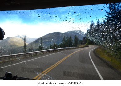 Driving Down The Road, Through The Windshield