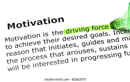 Driving force highlighted in green, under the heading Motivation.