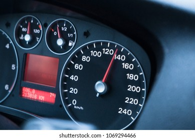Driving at high speed, speedometer close-up