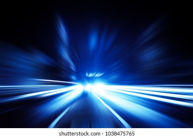 driving at high speed in tunnel - motion blur