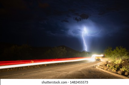 Driving Into The Lightning Storm
