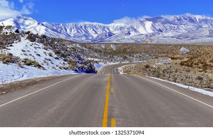 Driving into the Spring Mountains, near Las Vegas Nevada after fresh snowfall, a popular place for skiing, hiking and mountain climbing