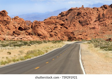 Driving into Valley of Fire State Park near Las Vegas, Nevada