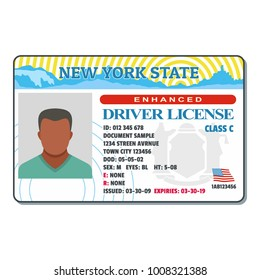 Driving license for new york icon. Flat illustration of driving license for new york  icon for web.
