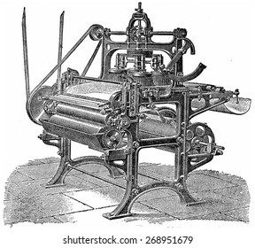 Driving machine with four round brushes, vintage engraved illustration. Industrial encyclopedia E.-O. Lami - 1875.