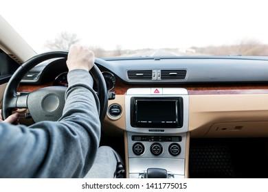 driving the modern car on asphalt road