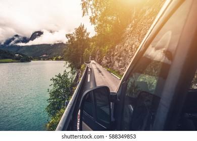 Driving Motohome Through Narrow Norwegian Road. Rving in the Norway.