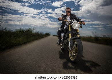 Driving Motorcycle on Asphalt Road Moving Action