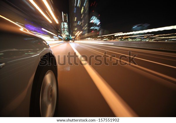 Driving in the night city
