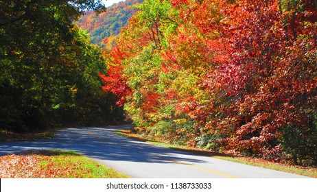 Driving on Blue Ridge Parkway in October enjoying the Scenic Views