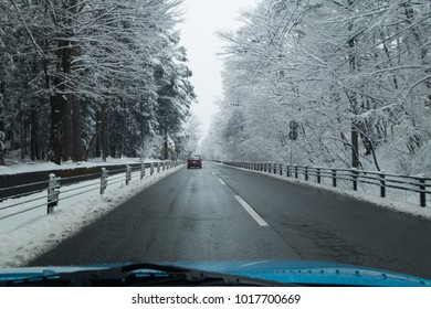 Driving on the Country Road in Winter