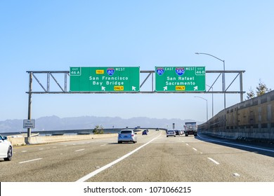 Driving on the freeway in east San Francisco bay area towards Sacramento