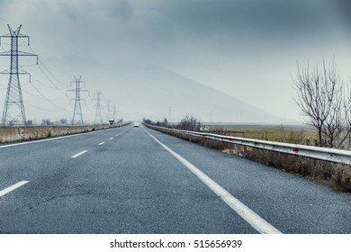 Driving on the highway at winter