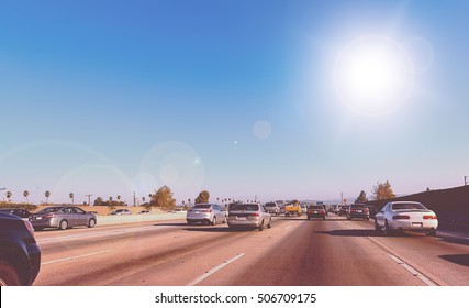 Driving on an interstate highway in Los Angeles, California, USA - Picture with vintage color look