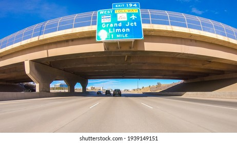 Driving on an interstate highway in suburban America.
