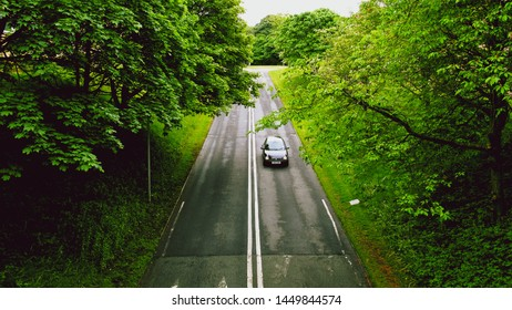 Driving on a lonely road through lush nature