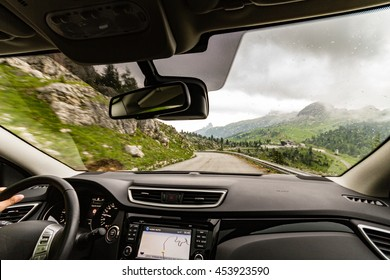 Driving on mountainous road. Dolomites, Italy, Passo Valparola.