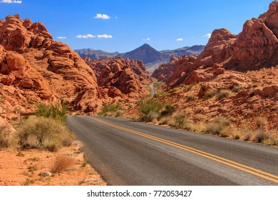 Driving on Mouse's Tank Rd in Valley of Fire State Park near Las Vegas, Nevada