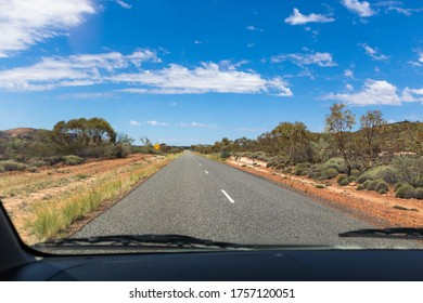 Driving on the road in Australia. Empty road, no cars.