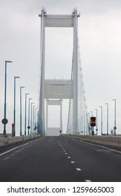 Driving over the Severn Bridge from Wales to England no traffic