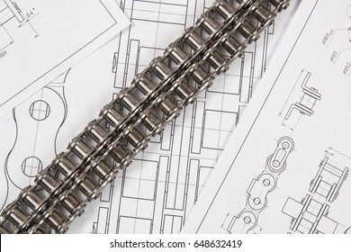 Driving roller chain and technical engineering drawings. Mechanical engineering, technology of metal processing.