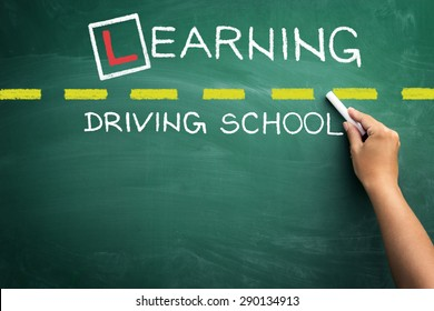 Driving school chalkboard, Educational and Creative composition with the space for  message