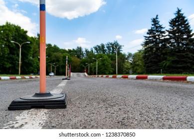 Driving school practice circuit area road view
