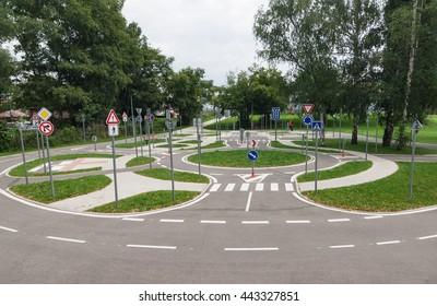 Driving school practice circuit area for children traffic