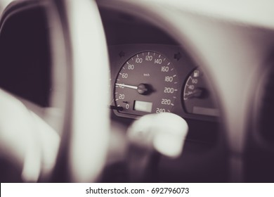 Driving at speed of 40. Car speedometer speed transportation background.